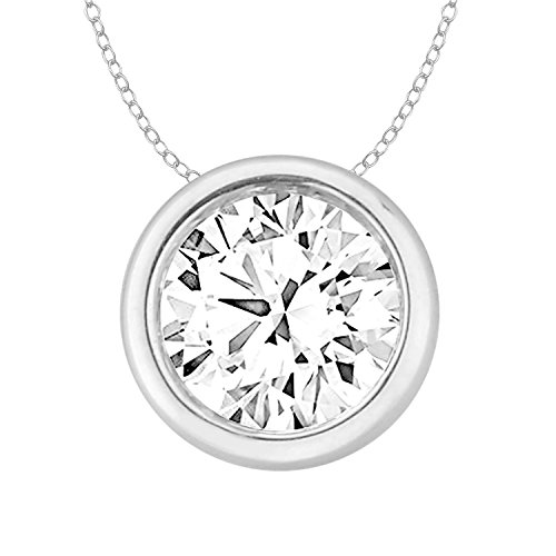 Circle Slider Pendant (14k Gold Round Diamond Womens Solitaire Pendant Necklace (0.33cttw, Color-IJ, Clarity-I2-I3) 18