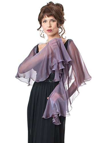 Amethyst Mauve Evening Wedding Silk Chiffon Fluttering Scarf Wrap Shawl by Lena Moro