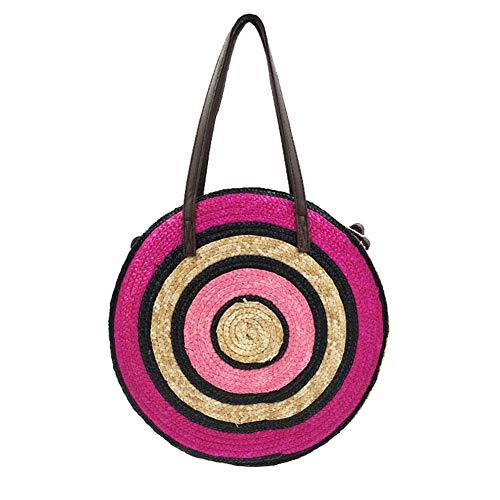 Hand-Woven Round Wheat Straw For Women Bohemian Female Handbag Summer Beach Bag Travel Shoulder Messenger Tote Rose red handbag