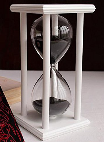 60 Minutes Hourglass Timer Creative Gifts Room Decor Hourglass (white frame black sand)