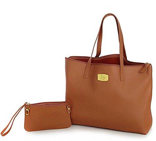 Rich Cognac (JOY Genuine Leather Smart Bag with RFID-Protected Clutch Rich Cognac Brown)