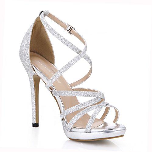 Robe Sandale Pompes À Talons Gladiateur Paillettes Stilettos Dauphin Fille Mariage Chaussures De Soirée Prime Argent