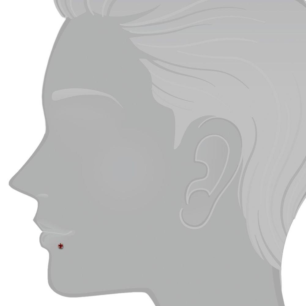 3mm Cubic Zirconia 14k White Gold Low Setting Labret Lip Ring Monroe Tragus Earring 16G 3//8 FreshTrends FT-GL-LS-CZ3-WHT-16-3-8