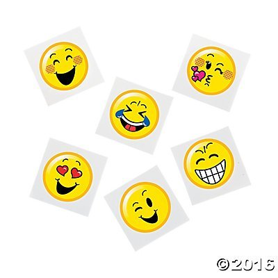 Emoji Smiley Face Temporary Tattoo 72 pc