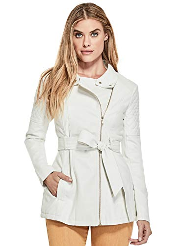 GUESS Factory Women's Hollie Quilted Faux-Leather Trench - White Jacket Guess