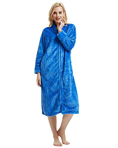 - LAPAYA Women's Fleece Robe Calf Length Long Sleeve Fluffy Plain Zip Front Bathrobe, Blue, Tag Size XL=US Size Large