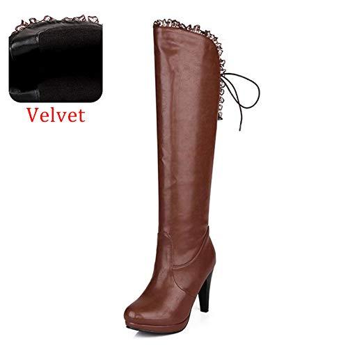 HAOLIEQUAN Office Lady High Heels Stiefel Lace Up Winter Schuhe Frauen Plattform Warm Knie Stiefel Mode Schuhe Größe 32-43  | Shop  | Deutschland München