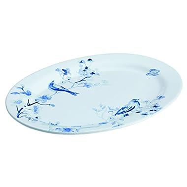 Paula Deen Indigo Blossom Stoneware Oval Serving Dinnerware Platter, 10  x 14 , Print