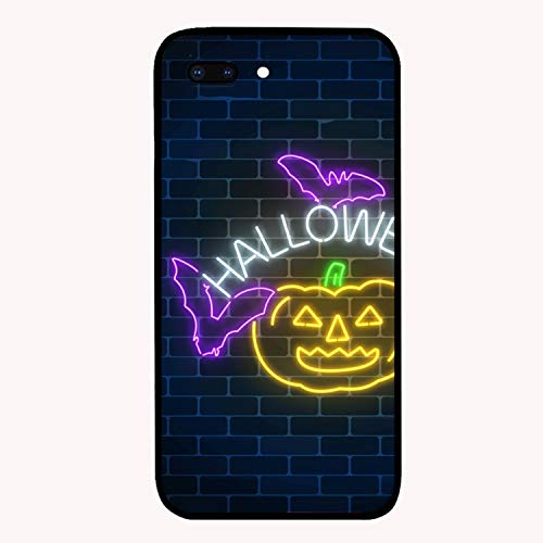 iPhone 8 Plus Case, iPhone 7 Plus Case, Glowing Neon Sign of Halloween Printed Anti-Scratch Thin Back Protective Phone Case Cover Compatible for iPhone 7 Plus/8 Plus