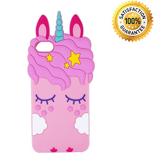 iPhone SE Case, iPhone 5C Case, iPhone 5 5S Case Cover, 3D Cartoon Pink Unicorn Kids Girls Silicone Animals Soft Rubber Shockproof Protector Shell Skin for iPhone 5/5S/5C/SE - Pink Eyelash Unicorn