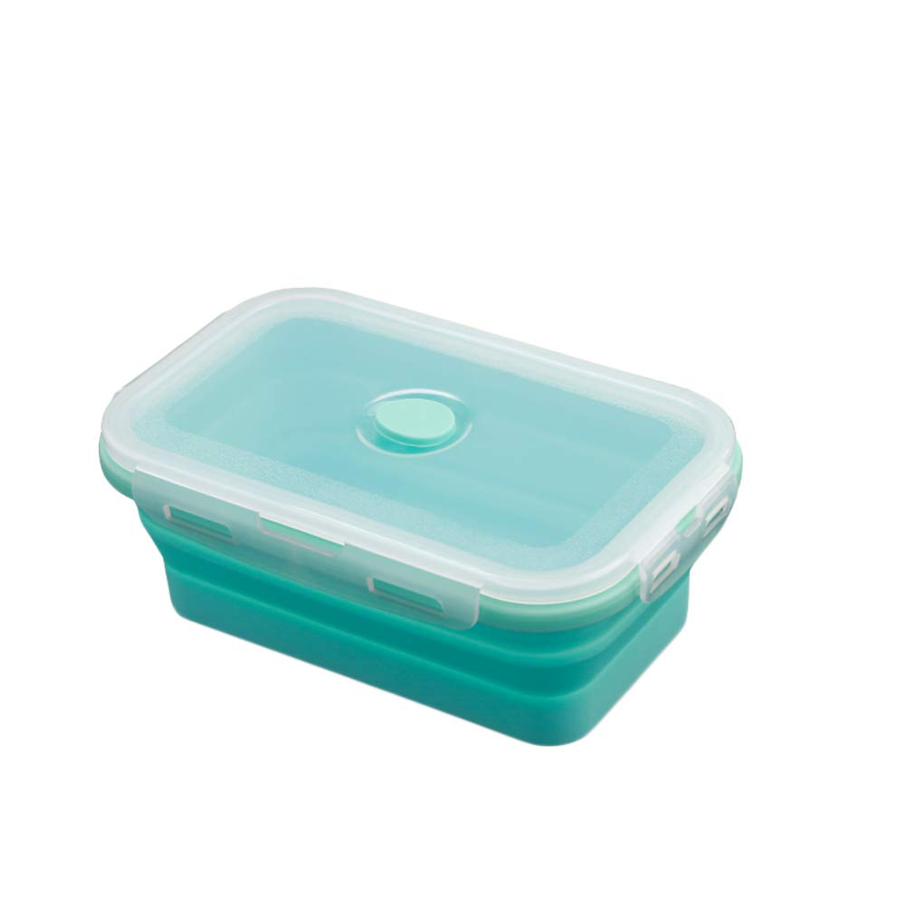 KnvcDey Silicone Collapsible Bowl,Camping Hiking Portable Travel Food Storage containers Lunch bento Box bpa Free Space-Saving-Blue 800ml by KnvcDey