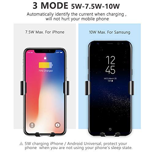 10W Samsung Note 9//8,Galaxy S9// S9+// S8// S8 NUEX Wireless Car Charger Fast Gravity Linkage Design Qi-Standard Compatible with 7.5W iPhone Xs//Xs Max//XR//X// 8//8 Xiu Xiu