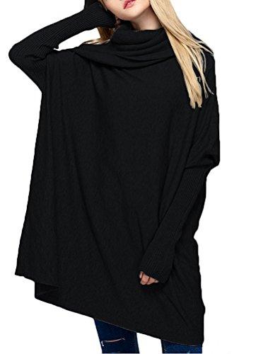 1 Vogstyle Femme Manches Longues over Unie Style Vrac en Couleur Noir Tricot en Pull gAnwA7qUr