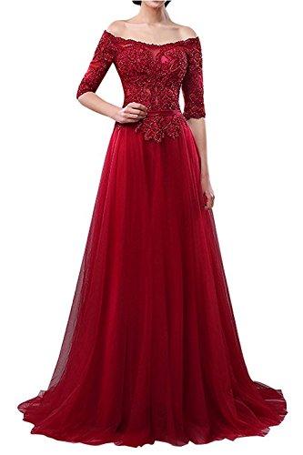 Langes Rot Abendkleider A Schulterfrei Braut Festlichkleider Ballkleider Linie Brautmutterkleider Festlichkleider Dunkel mia La pxqftx