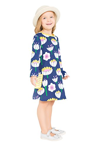Little Bitty girl printed flower casual toddler cotton long sleeve girl dress,Royal Blue Lotus Printing,5-6 Years Lotus Flower Dress