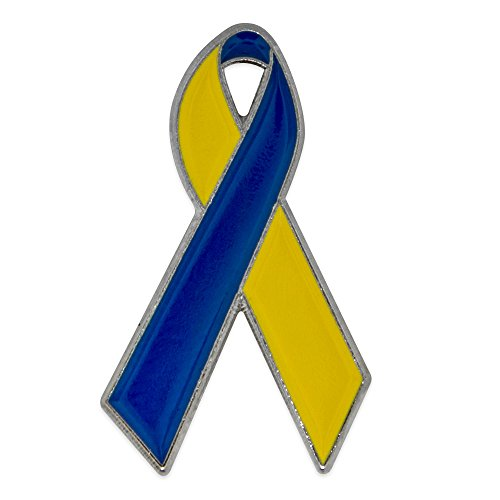 PinMart Blue and Yellow Down Syndrome Awareness Ribbon Enamel Lapel Pin