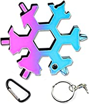 The Latest Snowflake Tool,19-in-1 Snowflake Multi Tool, Incredible Tool, Portable Stainless Steel Keychain Scr