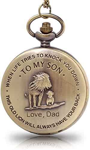 to My Son Boy's Pocket Watch,Engarved Pocket Watch for Son from Dad & Mom for Christmas, Valentines Day, Birthday Gift