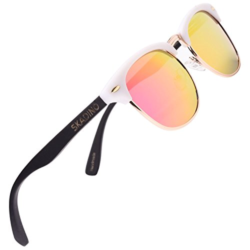SKADINO Bamboo Wood Sunglasses for Women&Men with Polarized Lens-Pink - White Clubmaster