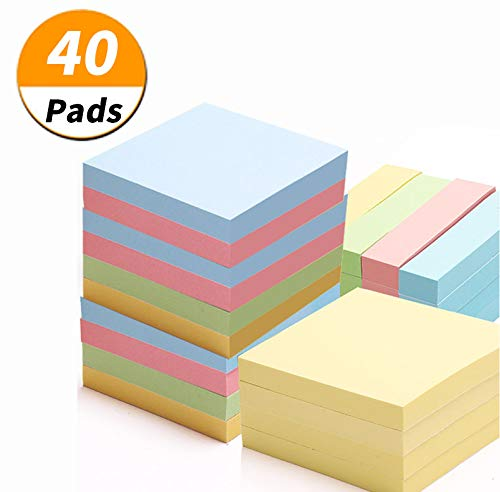 [ 40 Pads ] Sticky Note, 3 inch x 3 inch, 100 Sheets/Pad, 4 Colours Self-Stick Notes, Easy Post,Stickies Notes, Sticky Notes Set, Colorful Self-Stick Pads