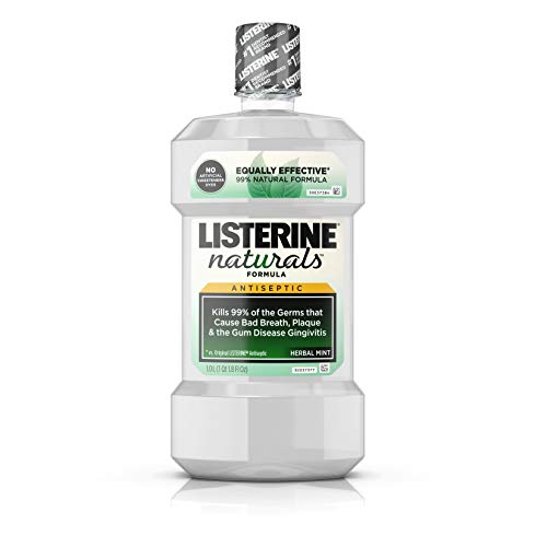 Antiseptic Mouthwash - Listerine Naturals Antiseptic Mouthwash, Fluoride-Free Oral Care To Prevent Bad Breath, Plaque Build-Up and Gingivitis Gum Disease, Herbal Mint, 500 mL