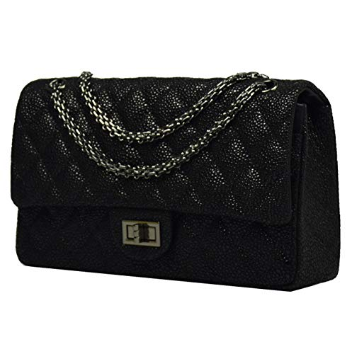 Esyuel Classic Crossbody Shoulder Bag for Women Quilted Purse With Metal Chain Strap (30cm/11.5