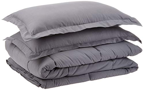 AmazonBasics Down-Alternative Comforter Bedding Set with Pillow Sham - Full or Queen, Grey