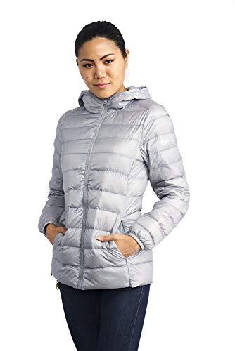 alpine swiss Eva Womens Down Jacket Hooded Puffer Coat Packable Insulation & Light Gry LRG (Jacket Puffy Layer)