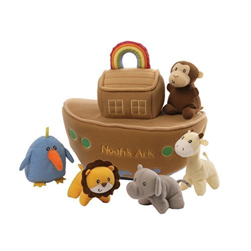 GUND Baby Noah's Ark Playset Stuffed Plush, 6 pieces, (Baby Gund Elephant)