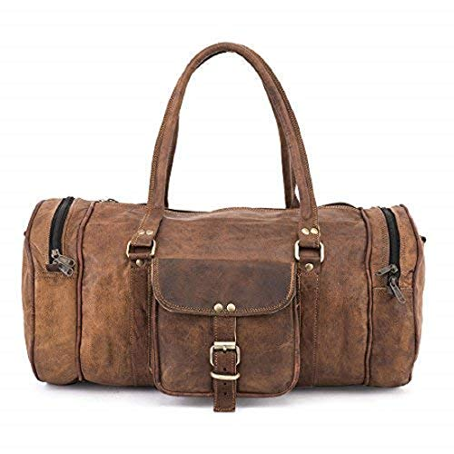 Teakwood Genuine Leather 19 Inch Duffel Round Style Travel Weekend Overnight Holiday Gym Leather Bag