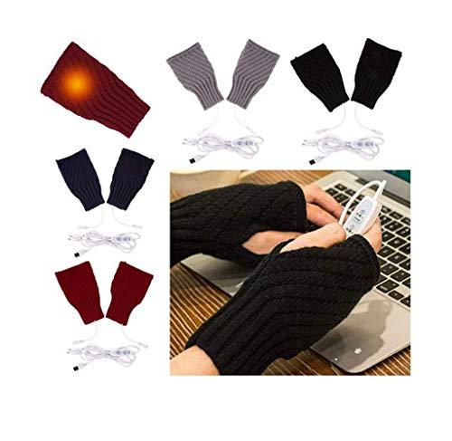 DANNIY 1 Paire de Gants Chauffants USB Femmes Hommes Mitaines Mains d'hiver Gants D'ordinateur Portable Chauds avec Demi-Doigts Complets Chauffant des Gants Chauds pour (Black)
