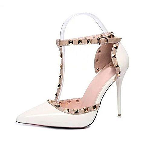 elepbaba Women's Shoes Fashion Female Sandals Rivet Metal Decoration pu Leather Women high Heels