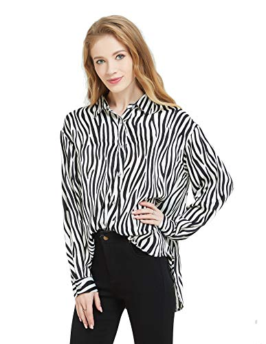 (Tronjori Womens Oversized Long Sleeve Button Down Leopard Snake Zebra Animal Print Shirt Blouse (XL,Zebra))