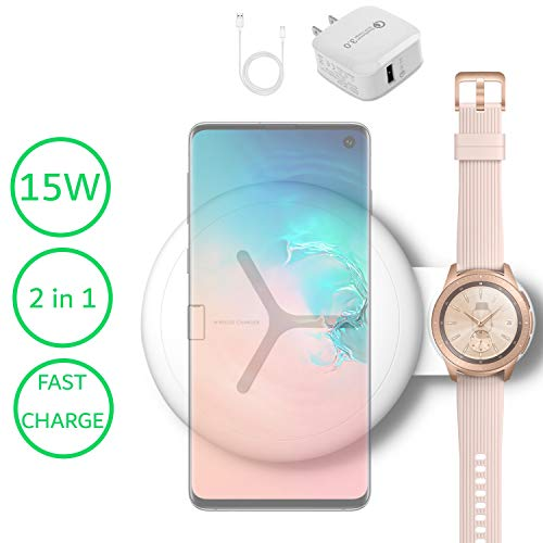 Upgraded 2 in 1 Fast Dual Wireless Charging Pad Compatible for Samsung Galaxy Watch Gear and Samsung Phone - 15W Charging Duo Station and Samsung Galaxy Watch Charger with QC3.0 Adapter