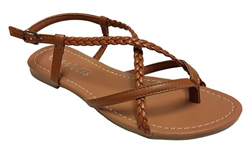 Elegant Women's Fashion Braided Criss Cross Straps Camel Color Gladiator Flat Sandals Camel 5, M - Cami Braided