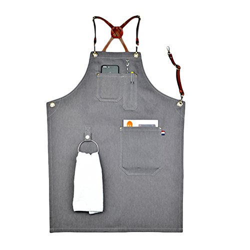 Home-organizer Tech Multi-Use Detachable Tool Apron Heavy Duty Denim Jean Work Apron Salon Barber Hairdressers Apron BBQ Gril Housewife Apron with Pockets, Adjustable for Men & Women (Type B) (Apron Front Bar)