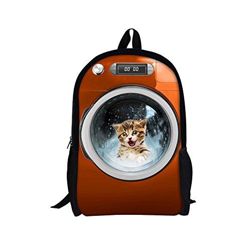 TOREEP Big and Small Cat Dog Print Casual Students Laptop Backpack(Big)