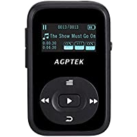 AGPTEK A26 8GB Bluetooth MP3 Player, Sports Clip Hi-Fi Sound Music Player with FM Radio, 1.1 Inch OLED Screen, Sweatproof Silicone Case, Support up to 64GB, Black