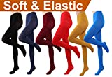 HeyUU Women's Semi Opaque Solid Color Soft Footed Pantyhose Tights 2 Pack (6 Pairs-Black/Dark Blue/Burgundy/Red/Mustard/Royal Blue)