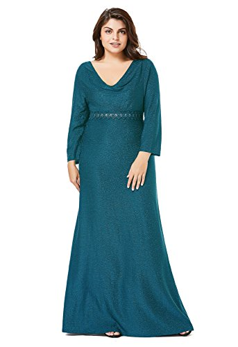 myfeel Plus Size Christmas Party Dress Sequin Elegant Heaps Collar Evening Dress (Peacock Blue, 5X) (Dress Evening Blue Peacock)
