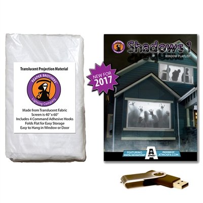AtmosFearFX SHADOWS 1 Compilation Video & Projection Screen Bundle. Includes effects from Bone Chillers, Shades of Evil, Tricks or Treats, Night Stalkers and Zombie Invasion -