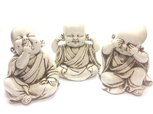 CRAFTSTORE14 Three Wise Monkeys Monk Figurines Set, Baby Buddha Statue, See No Evil, Hear No Evil, Speak No Evil, Zen Sculpture, Home Décor]()