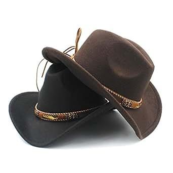 2019 Good Hat For Men Women Wool Western Cowboy Hat With Punk Belt Pop Wide Brim Jazz Hat Sombrero Hat Church Hat, Size 56-58CM (Color : Black, Size : 56-58)