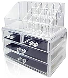 Clear Acrylic Jewelry And Cosmetic Storage Makeup Organizer 4drawers