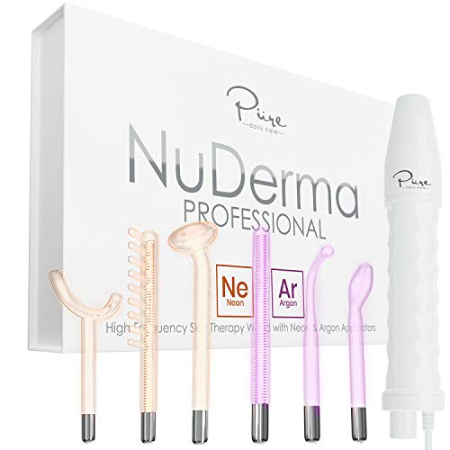 NuDerma Professional Skin Therapy Wand - Portable Handheld High Frequency Skin Therapy Machine with 6 Neon & Argon Wands - Acne Treatment - Skin Tightening - Wrinkle Reducing - Facial Skin Lifter
