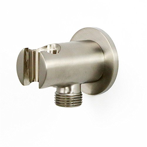 (Weirun Bathroom Brass 1/2 Inch NPT Round Shower Wall Outlet Handheld Shower Spray Head Holder Supply Elbow Hose Connector Wall-mounted, Brushed Nickel)