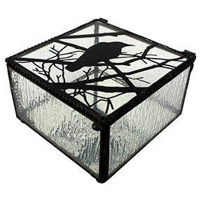 Glass Trinket (4 Inch Raven on Branch Clear Glass Decoration Novelty Trinket Box )