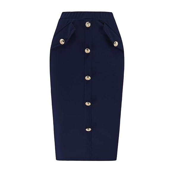 Hengxing Falda de Bolsillo para Mujer con Botones y Cintura Alta ...