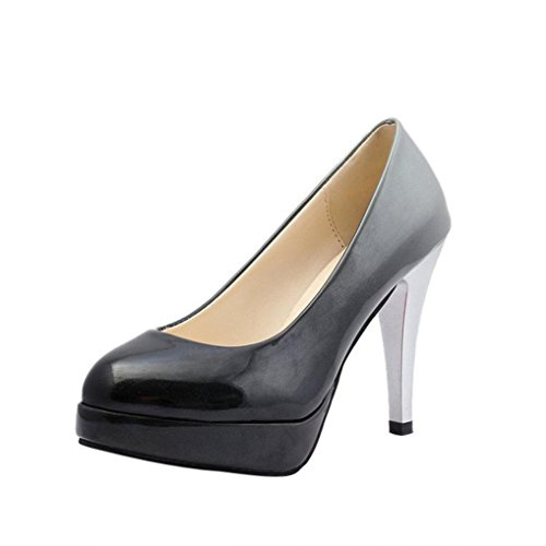 hunpta High-Heeled Shoes, Women Fashion Patent Leather Shoes Gradient Color Shallow High-Heeled Shoes B