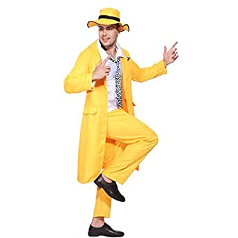 Amazon.com: 90s Yellow Gangster Zoot Suit The Mask Jim ... Zoot Suit The Mask
